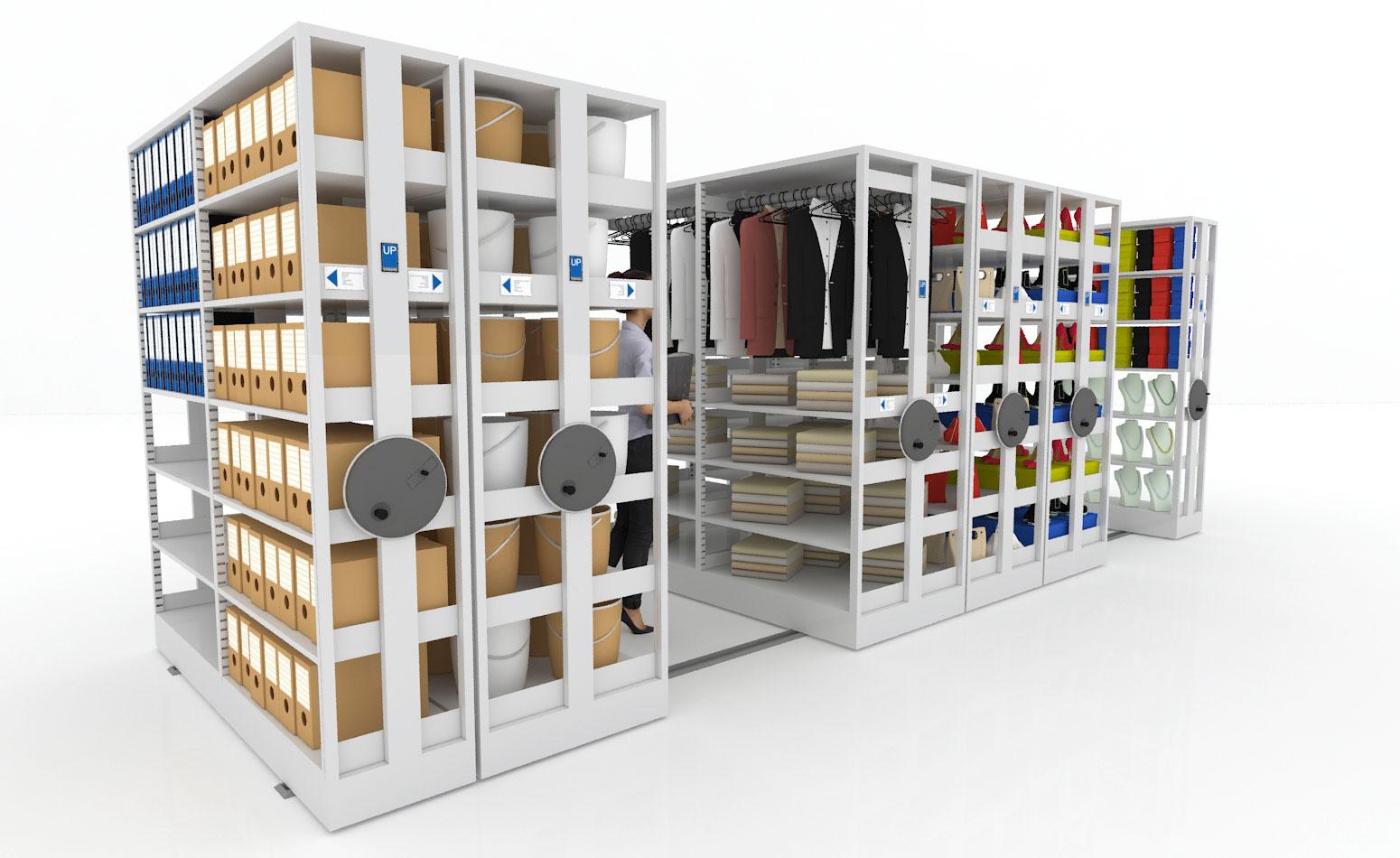 Arquivo deslizante para estoque e armazenagem